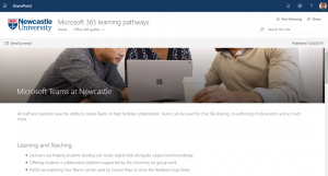 Screenshot of Microsoft Teams learning pathways site
