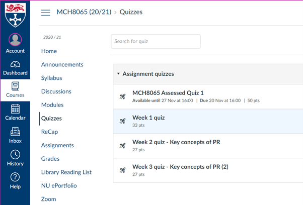 Shows Quizzes section in Canvas. There are 4 quizzes shown with points ranging from 27 points to 50 points
