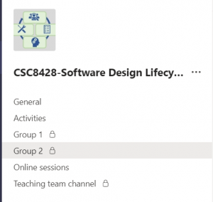 Microsfot Teams set up for this module. Includes 2 private channels called Group q and Group 2