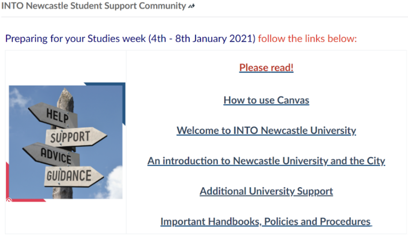 Screenshot of Canvas page with clear signpost links to key information